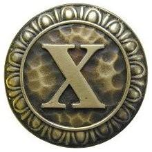 Notting Hill NHK-203-AB, Initial X Knob in Antique Brass, Jewel