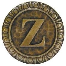 Notting Hill NHK-205-AB, Initial Z Knob in Antique Brass, Jewel