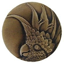 Notting Hill NHK-324-AB-R, Cockatoo Knob in Antique Brass (Small - Right Side), Tropical