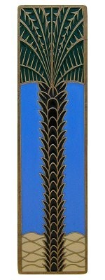 Notting Hill NHP-322-AB-C, Royal Palm Pull in Antique Brass/Periwinkle (Vertical), Tropical