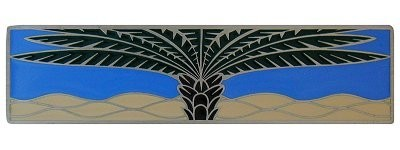 Notting Hill NHP-323-AP-C, Royal Palm Pull in Antique Pewter/Periwinkle (Horizontal), Tropical