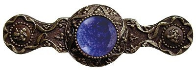 Notting Hill NHP-624-AB-BS, Victorian Jewel Pull in Antique Brass/Blue Sodalite, Jewel