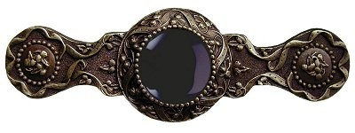 Notting Hill NHP-624-AB-O, Victorian Jewel Pull in Antique Brass/Onyx, Jewel