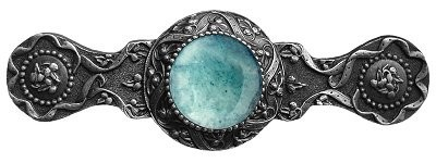 Notting Hill NHP-624-AP-GA, Victorian Jewel Pull in Antique Pewter/Green Aventurine, Jewel