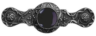 Notting Hill NHP-624-AP-O, Victorian Jewel Pull in Antique Pewter/Onyx, Jewel