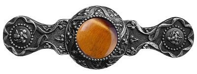 Notting Hill NHP-624-AP-TE, Victorian Jewel Pull in Antique Pewter/Tiger Eye, Jewel