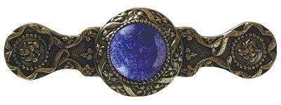 Notting Hill NHP-624-BB-BS, Victorian Jewel Pull in Brite Brass/Blue Sodalite, Jewel