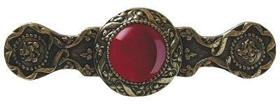 Notting Hill NHP-624-BB-RC, Victorian Jewel Pull in Brite Brass/Red Carnelian, Jewel