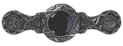 Notting Hill NHP-624-BN-O, Victorian Jewel Pull in Brite Nickel/Onyx, Jewel