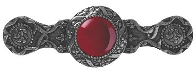 Notting Hill NHP-624-BN-RC, Victorian Jewel Pull in Brite Nickel/Red Carnelian, Jewel