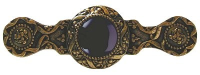 Notting Hill NHP-624-G-O, Victorian Jewel Pull in 24K Gold/Onyx, Jewel