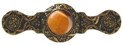 Notting Hill NHP-624-G-TE, Victorian Jewel Pull in 24K Gold/Tiger Eye, Jewel