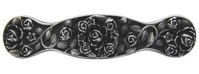 Notting Hill NHP-626-AP, Saratoga Rose Pull in Antique Pewter, Floral