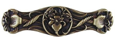 Notting Hill NHP-628-AB, River Irises Pull in Antique Brass, Floral