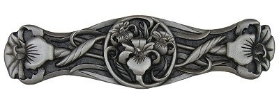 Notting Hill NHP-628-AP, River Irises Pull in Antique Pewter, Floral