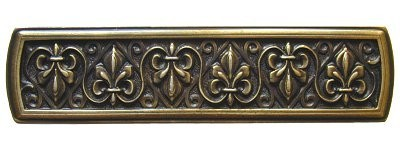 Notting Hill NHP-660-AB, Fleur-de-lis Pull in Antique Brass, Olde World