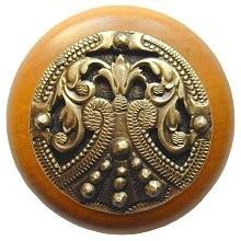 Notting Hill NHW-701M-AB, Regal Crest Wood Knob in Antique Brass /Maple Wood, Olde World