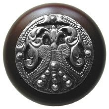 Notting Hill NHW-701W-BP, Regal Crest Knob in Brilliant Pewter /Dark Walnut Wood, Olde World