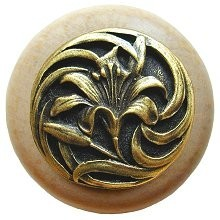 Notting Hill NHW-703N-AB, Tiger Lily Wood Knob in Antique Brass /Natural Wood, Floral