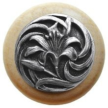 Notting Hill NHW-703N-AP, Tiger Lily Wood Knob in Antique Pewter/Natural Wood, Floral