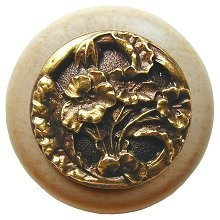 Notting Hill NHW-704N-AB, Hibiscus Wood Knob in Antique Brass /Natural Wood, Floral