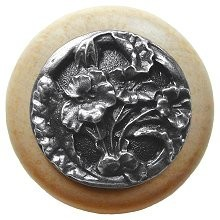 Notting Hill NHW-704N-AP, Hibiscus Wood Knob in Antique Pewter/Natural Wood, Floral