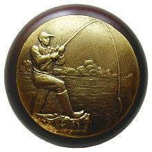 Notting Hill NHW-707W-AB, Catch Of The Day Wood Knob in Antique Brass /Dark Walnut Wood, Great Outdoors