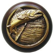 Notting Hill NHW-708W-AB, Leaping Trout Wood Knob in Antique Brass /Dark Walnut Wood, Great Outdoors