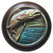 Notting Hill NHW-708W-PHT, Leaping Trout Wood Knob in Hand-Tinted Antique Pewter/Dark Walnut Wood, Great Outdoors