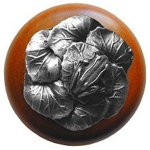 Notting Hill NHW-709C-AP, Leap Frog Wood Knob in Antique Pewter/Cherry Wood, All Creatures