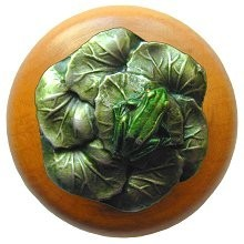 Notting Hill NHW-709M-PHT, Leap Frog Wood Knob in Hand-Tinted Antique Pewter/Maple Wood, All Creatures