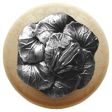 Notting Hill NHW-709N-AP, Leap Frog Wood Knob in Antique Pewter/Natural Wood, All Creatures