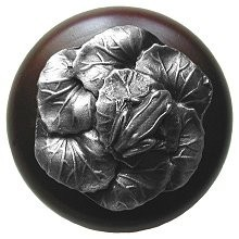 Notting Hill NHW-709W-AP, Leap Frog Wood Knob in Antique Pewter/Dark Walnut Wood, All Creatures