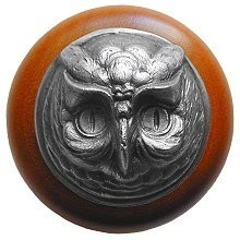 Notting Hill NHW-711C-AP, Wise Owl Wood Knob in Antique Pewter/Cherry Wood, Great Outdoors