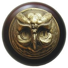 Notting Hill NHW-711W-AB, Wise Owl Wood Knob in Antique Brass /Dark Walnut Wood, Great Outdoors