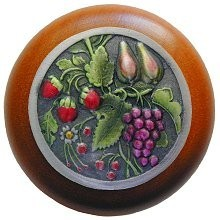 Notting Hill NHW-713C-PHT, Tuscan Bounty Wood Knob in Hand-Tinted Antique Pewter/Cherry Wood, Tuscan