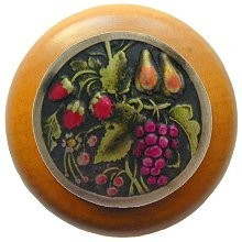 Notting Hill NHW-713M-BHT, Tuscan Bounty Wood Knob in Hand-Tinted Antique Brass/Maple Wood, Tuscan