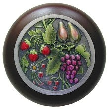 Notting Hill NHW-713W-PHT, Tuscan Bounty Wood Knob in Hand-Tinted Antique Pewter/Dark Walnut Wood, Tuscan
