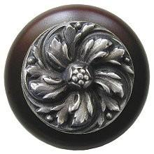 Notting Hill NHW-714W-AP, Chrysanthemum Wood Knob in Antique Pewter/Dark Walnut Wood, English Garden