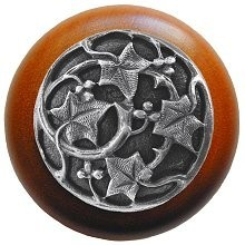 Notting Hill NHW-715C-AP, Ivy With Berries Wood Knob in Antique Pewter/Cherry Wood, Leaves