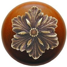 Notting Hill NHW-725C-AB, Opulent Flower Wood Knob in Antique Brass/Cherry Wood, Classic