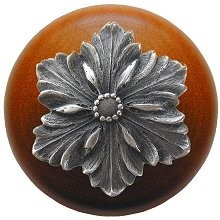 Notting Hill NHW-725C-AP, Opulent Flower Wood Knob in Antique Pewter/Cherry Wood, Classic