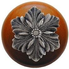 Notting Hill NHW-725C-SN, Opulent Flower Wood Knob in Satin Nickel/Cherry Wood, Classic