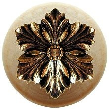 Notting Hill NHW-725N-BB, Opulent Flower Wood Knob in Brite Brass/Natural Wood, Classic