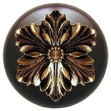 Notting Hill NHW-725W-BB, Opulent Flower Wood Knob in Brite Brass/Dark Walnut Wood, Classic