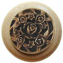 Notting Hill NHW-726N-AB, Saratoga Rose Wood Knob in Antique Brass/Natural Wood, Floral