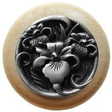 Notting Hill NHW-728N-AP, River Iris Wood Knob in Antique Pewter/Natural Wood, Floral