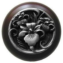 Notting Hill NHW-728W-AP, River Iris Wood Knob in Antique Pewter/Dark Walnut Wood, Floral