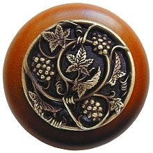 Notting Hill NHW-729C-AB, Grapevines Wood Knob in Antique Brass/Cherry Wood, Tuscan