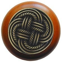 Notting Hill NHW-739C-AB, Classic Weave Wood Knob in Antique Brass/Cherry Wood, Classic